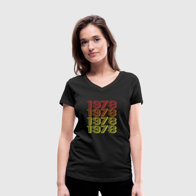 Retro Born In 1978 - Women's Organic V-Neck T-Shirt by Stanley & Stella