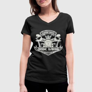 Hard Drive Queen Bees drive hard. Distressed - Women's Organic V-Neck T-Shirt by Stanley & Stella
