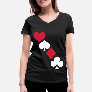 Playing Card Kartendeck - Women's Organic V-Neck T-Shirt by Stanley & Stella