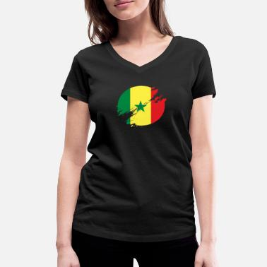 West Africa Senegal Circle / West Africa Flag Gift Africa - Women's Organic V-Neck T-Shirt by Stanley & Stella