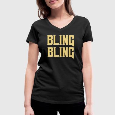 Gangster Rap bling bling gold rap gift gangster - Women's Organic V-Neck T-Shirt by Stanley & Stella