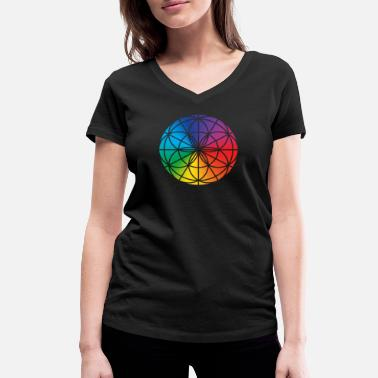 Life Energy Flower of life rainbow, energy symbol - Women's Organic V-Neck T-Shirt by Stanley & Stella