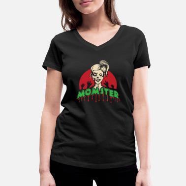 Ghoulish Momster - mom mom halloween party mothers day - Women's Organic V-Neck T-Shirt by Stanley & Stella