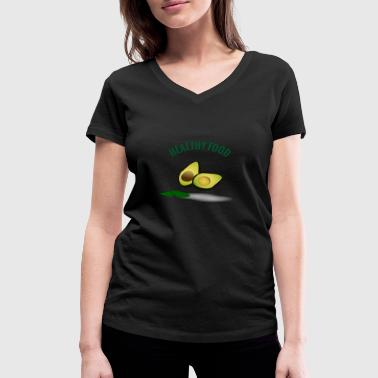 healthy food avocado - Women's Organic V-Neck T-Shirt by Stanley & Stella