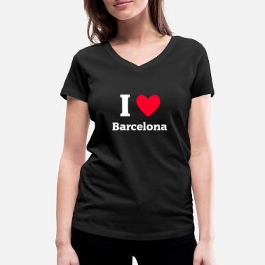 I Love Barcelona I Love Barcelona - Women's Organic V-Neck T-Shirt by Stanley & Stella