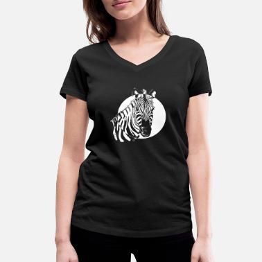 Lino Cut Zebra - Black & White well combined - Women's Organic V-Neck T-Shirt by Stanley & Stella
