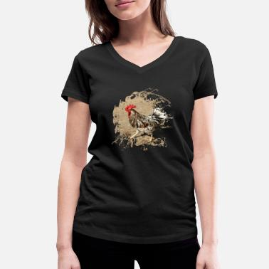 Back Yard Proud rooster in the yard - Women's Organic V-Neck T-Shirt by Stanley & Stella