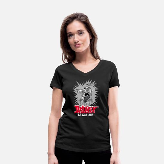Officialbrands T-Shirts - Asterix & Obelix - Asteriy dynamics Women's T-Shir - Women's Organic V-Neck T-Shirt black
