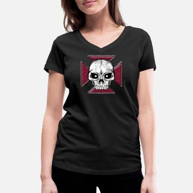 Skull Cross 20-07 Iron Cross Skull, Skull Iron Cross - Women's Organic V-Neck T-Shirt by Stanley & Stella