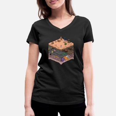 Isometric Isometric video game dungeon - Women's Organic V-Neck T-Shirt by Stanley & Stella