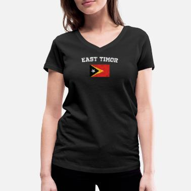 Easton East Timorese Flag Shirt - Vintage East Timor T-Sh - Women's Organic V-Neck T-Shirt by Stanley & Stella