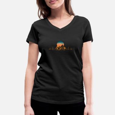Mountain Pulse Mountain Heartbeat Hiking Hills Camping Pulse Gift - Women's Organic V-Neck T-Shirt by Stanley & Stella