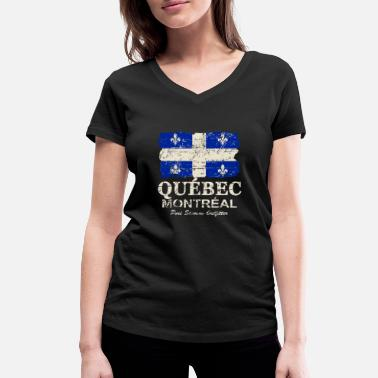 Montreal Québec  Flag - Canada - Vintage Look - Women's Organic V-Neck T-Shirt by Stanley & Stella