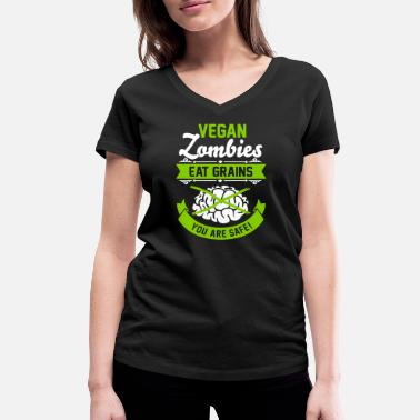 Veggie Vegan Zombies eat Grains you are safe! Veggie - T-shirt bio col V Stanley & Stella Femme