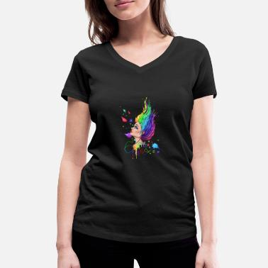 Glow In The Dark Music brings color to dark - Women's Organic V-Neck T-Shirt by Stanley & Stella