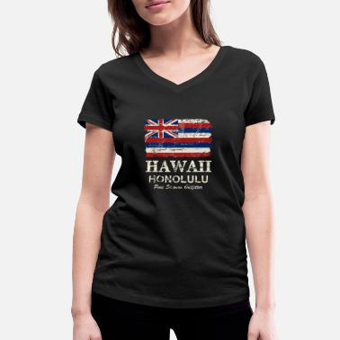 Honolulu Hawaii Flag - Honolulu - Vintage Look - Frauen Bio T-Shirt mit V-Ausschnitt