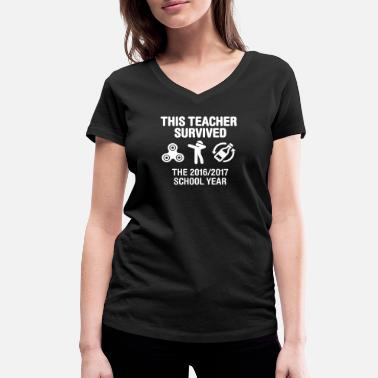 Survived This teacher survived school year 20116 - 2017 - Women's Organic V-Neck T-Shirt by Stanley & Stella
