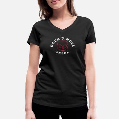 Alternative Rock n roll freak with skull free color choice - Women's Organic V-Neck T-Shirt by Stanley & Stella