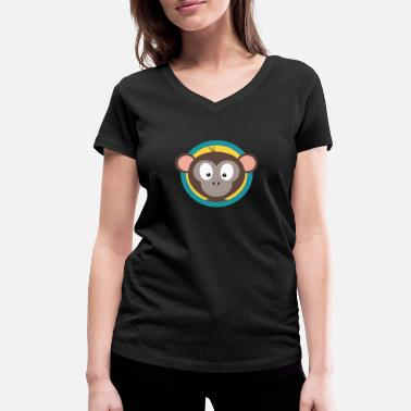 Blue Monkey Cute monkey head with blue circle - Women's Organic V-Neck T-Shirt by Stanley & Stella