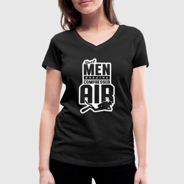 Shipwreck Real guys breathe compressed air - Women's Organic V-Neck T-Shirt by Stanley & Stella