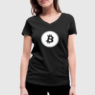 Bitcoin in White Transparent. - Women's Organic V-Neck T-Shirt by Stanley & Stella