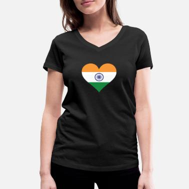Cricket A Heart For India - Women's Organic V-Neck T-Shirt
