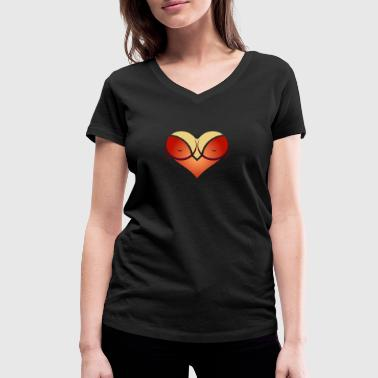 Cleavage Heart-shaped Woman's Breasts With Deep Cleavage - Women's Organic V-Neck T-Shirt by Stanley & Stella