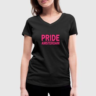 Pride Amsterdam in pink - Women's Organic V-Neck T-Shirt by Stanley & Stella