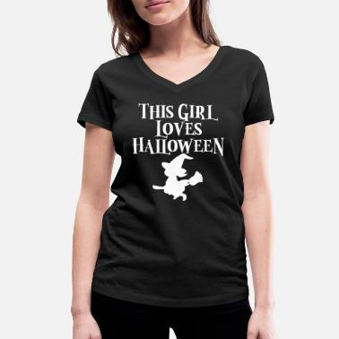 This Girl Can Party Halloween Girl Witch Gift Party Girlfriend - Women's Organic V-Neck T-Shirt by Stanley & Stella