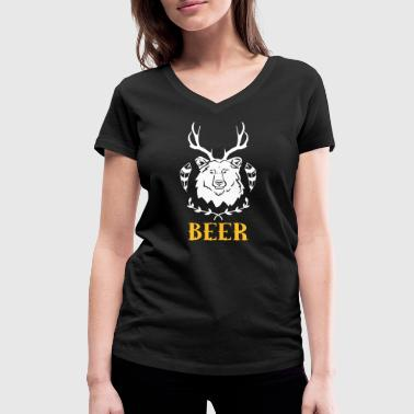 Beer Alcohol Party Funny Drunk Sex Booze Bear Deer BEER BREWERS WORK - Women's Organic V-Neck T-Shirt by Stanley & Stella