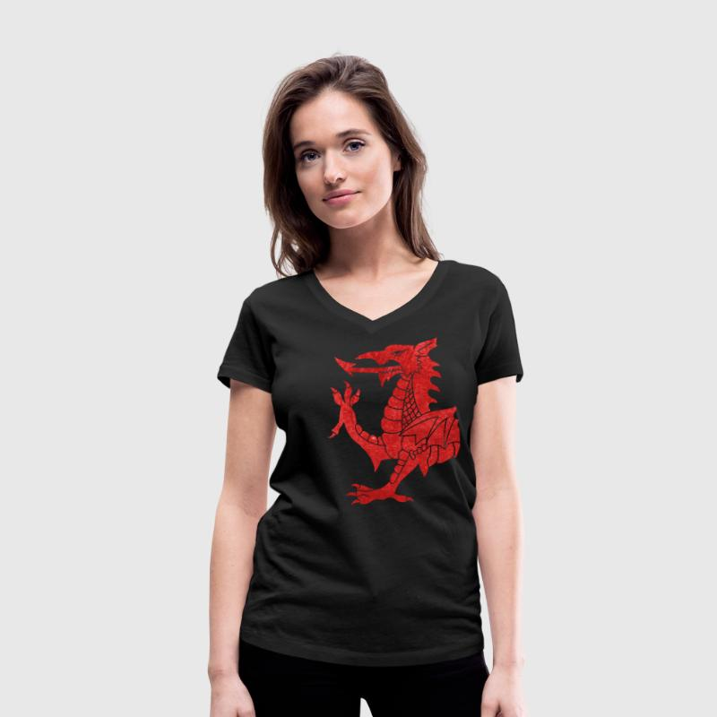 Welsh Dragon Rampant - Women's Organic V-Neck T-Shirt by Stanley & Stella