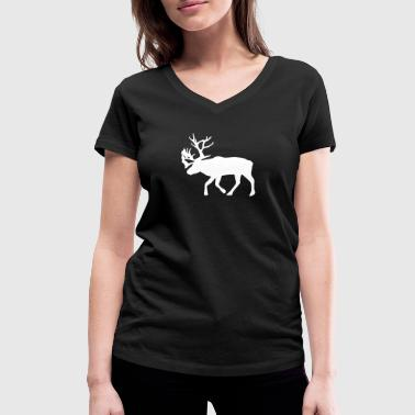 caribou - reindeer -  christmas - xmas - Women's Organic V-Neck T-Shirt by Stanley & Stella