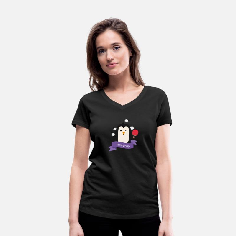 Action T-Shirts - Penguin table tennis from HONG KONG S8lgc0 - Women's Organic V-Neck T-Shirt black
