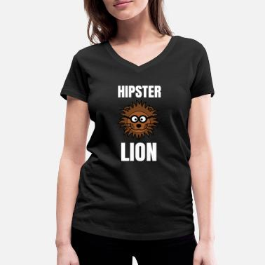 Hipster Lion Hipster Lion | Lion motif as a hipster - Women's Organic V-Neck T-Shirt by Stanley & Stella