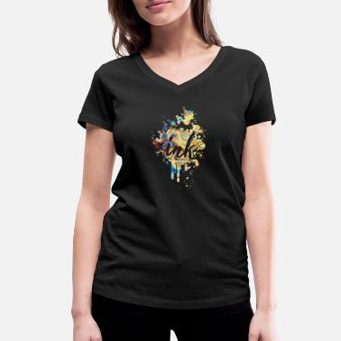 Ink Paint Color Ink Color Blob - Premium Design - Women's Organic V-Neck T-Shirt by Stanley & Stella
