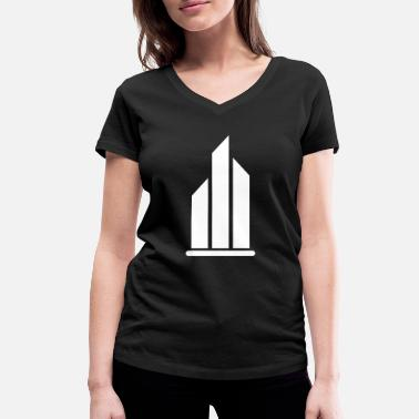 Pillars Pillar pillars building flames three motif - Women's Organic V-Neck T-Shirt by Stanley & Stella
