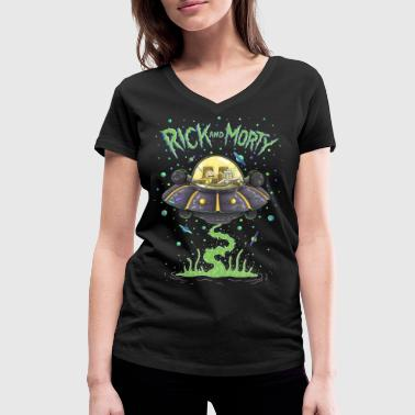 Rick And Morty Rick And Morty Spaceship Illustration - Women's Organic V-Neck T-Shirt by Stanley & Stella