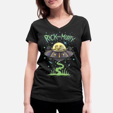 Binge Watching Rick And Morty Spaceship Illustration - Women's Organic V-Neck T-Shirt