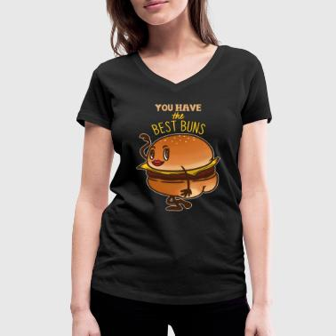 Sexy Bum Hamburger Cheeseburger Fast Food Gift Idea Po - Women's Organic V-Neck T-Shirt by Stanley & Stella