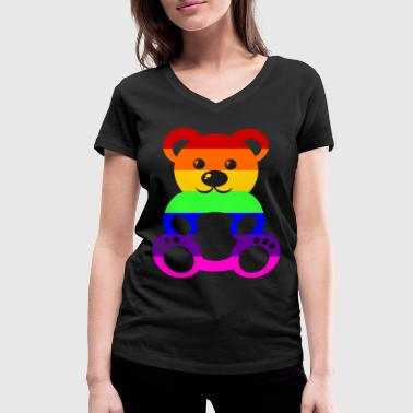 Gay Pride - Teddybear - EN - Women's Organic V-Neck T-Shirt by Stanley & Stella