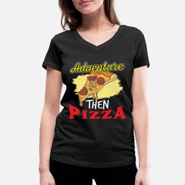 Dish Pizza Italy Food Cheese Dish Dish Tomato - Women's Organic V-Neck T-Shirt by Stanley & Stella