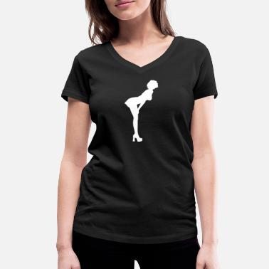 Ass Stripper Sexy Woman With Nice Butt Bends Forward - Women's Organic V-Neck T-Shirt by Stanley & Stella