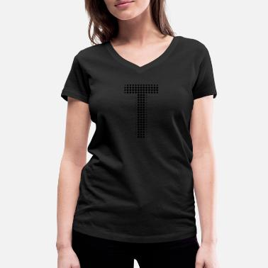 Words Initial Letter T letter initial letter gift points - Women's Organic V-Neck T-Shirt by Stanley & Stella