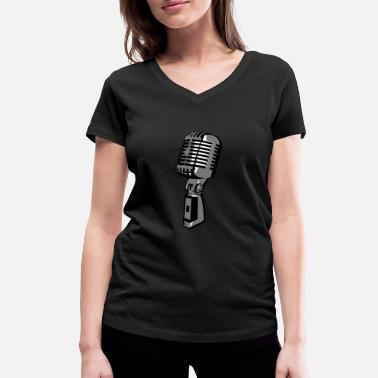 Mike Singer Microphone - Women's Organic V-Neck T-Shirt by Stanley & Stella