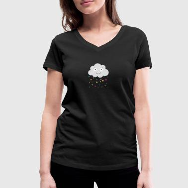 cloud with confetti - Women's Organic V-Neck T-Shirt by Stanley & Stella