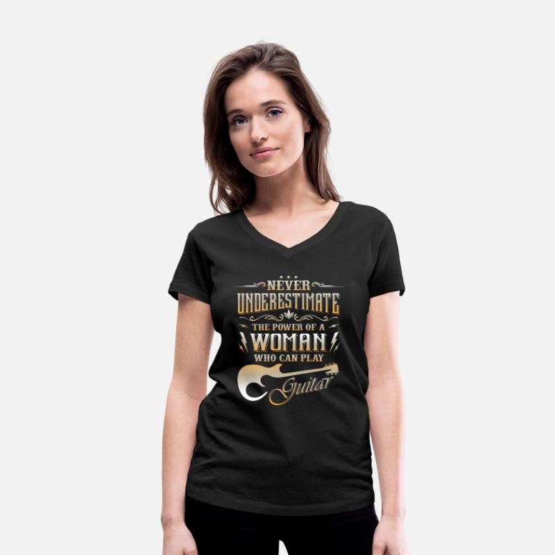 Guitar T-Shirts - Never underestimate the power of a guitar woman - Women's Organic V-Neck T-Shirt black