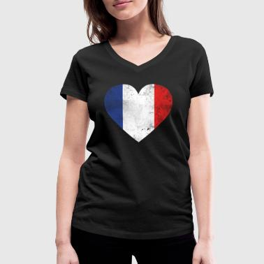 Gift France flag french flag - Women's Organic V-Neck T-Shirt by Stanley & Stella