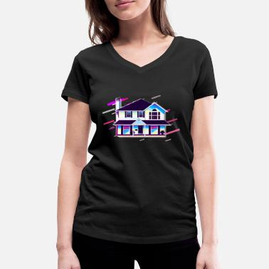 Condo House Residence 80's Retro Purple - Women's Organic V-Neck T-Shirt by Stanley & Stella
