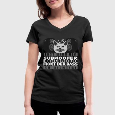 Subwoofer Bass love subwoofer cat hardstyle hardbass - Women's Organic V-Neck T-Shirt by Stanley & Stella