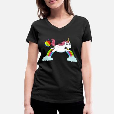 Fart Rainbow Farting unicorn rainbow - Women's Organic V-Neck T-Shirt by Stanley & Stella